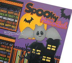 Premade Scrapbook Page 12x12 Layout Paper Piecing Halloween Spooky Bat Haunted House Elite4U. $14.99, via Etsy.