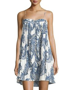 Paisley+Sleeveless+Swing+Dress,+Blue+by+On+the+Road+at+Neiman+Marcus+Last+Call.