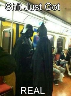 The Dark Lord meets The Dark Night #batman #starwars This is just to awesome not to pin. Sorry for the curse word mom