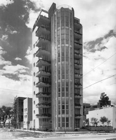 Apartment Building by Mario Pani 1943 in the corner of Rio Nazas and Rio Tigris streets