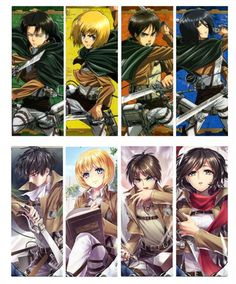 8 Pcs/Lot Cute Attack on Titan Eren Yeager Mikasa Ackerman Armin Arlert Hot Anime PVC Transparent Bookmark High Quality