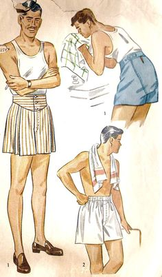 The one on the left in drawers, greased-back hair, a pencil moustache, no socks, wearing a high heeled shoe while smoking a cigarette...a fashion statement, I just don't know which one. 1950s Mens Boxer Shorts.