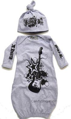 Rock Star Baby Clothing Grey Rock Set for Newborn Baby Boys. $42.00, via Etsy.