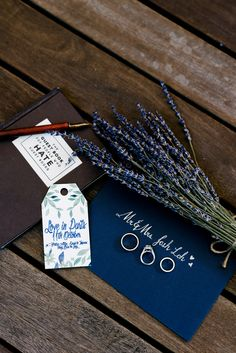 Blue and white painted calligraphy wedding stationery // French Flair: Josh and Vivian's Parisian-Themed Wedding at Grand Hyatt