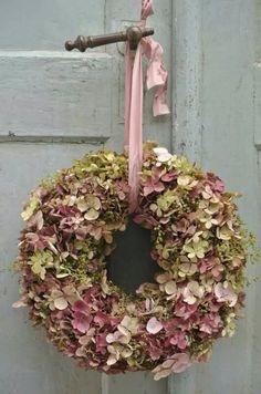 Gedroogde hortensia krans
