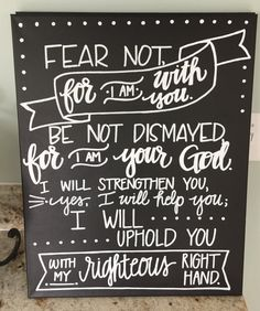 Browse unique items from AdornmentsbyWendi on Etsy, a global marketplace of handmade, vintage and creative goods. Bible Art, Bible Quotes, Chalk Writing, Isaiah 41 10, Prayer Wall, Praise God, Chalkboard Art, Scripture Verses, Names Of Jesus