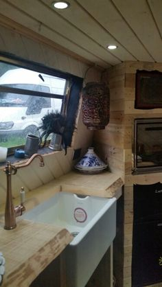 Belfast sink and oak worktop mid fitting. . Narrowboat Recalcitrant August 2015