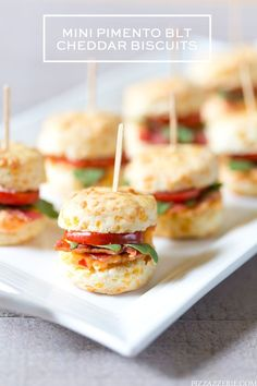 Don't miss this crowd-pleasing recipe for mini pimento BLT cheddar biscuits that's party ready and oh so delicious!