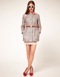 Rue Mag: Peach…ahh, such a springtime color! We love it paired with boucle on this coat from ASOS!