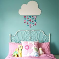 Foam Hearts above Brynn's Bed