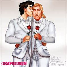June is gay pride month, so earlier this month I drew princesses in love with each other. And now, to commemorate the occasion my friends at Cosmopolitan asked me to illustrate a set of Disney Princes in love with...each other! #LoveIsLove ❤️ Here's Prince Eric and John Smith!