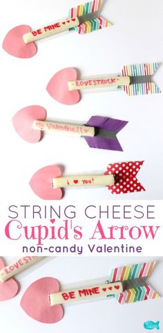 Fall in love with these Cupid's Arrow String Cheese Valentine's Day snacks. See how you can make them too at artscrackers.com | String Cheese | Valentine's Day | String Cheese Craft | String Cheese Wrapper Craft | Cupid's Arrow | Healthy Snack | Valentine's Snack | Non-Candy Valentine | Kids Crafts | Kids Valentines | Class Valentines | Valentine's Treat | Hearts | Valentine's Craft [AD]