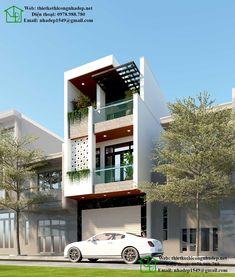 Mẫu nhà phố 3 tầng 4.5x18m kiến trúc hiện đại NDNP3T42 House Outer Design, Single Floor House Design, Modern Small House Design, House Front Design, Minimalist House Design, Narrow House Designs, Narrow House Plans, Latest House Designs, Modern Bungalow Exterior