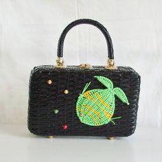 Vintage black wicker handbag with green and yellow fish made in Hong Kong