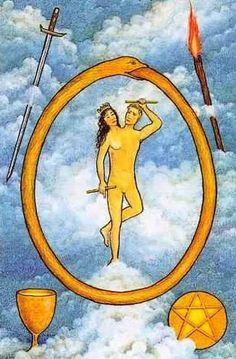 The World - Mythic Tarot by Liz Greene, Tricia Newell, Juliet Sharman-Burke The World Tarot, Lotus Tarot, Ying Y Yang, Eternal Return, Sphinx, Epic Of Gilgamesh, Free Tarot Reading, Tarot Major Arcana, Rainbow Bridge