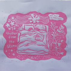 Shelter from the Storm: Sapphic Trans Solidarity Lino Print I Love You Deeply, Because I Love You, Trans Pride Flag, Rainbow Pride, Linocut Prints, Ink Color, Zine, Animal Crossing, Art Inspo