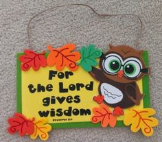 """Self-adhesive foam pieces. Includes instructions. Verse featured: """"For the Lord gives wisdom. Proverbs 2:6""""   Age level: 3-4+  Foam..."""