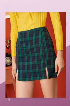 ((AffiliateLink)) Description Style: Preppy Color: Green Pattern Type: Tartan Length: Mini Type: Straight Details: Split Season: Summer Composition: Cotton Blends Material: Cotton Blends Fabric: Non-stretch Waist Type: High Waist Lining: No Plaid Skirts, Casual Skirts, Pop Fashion, Fashion News, Fashion Outfits, A Line Skirts, Mini Skirts, Summer Skirts, Preppy