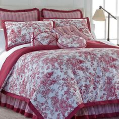 Bring an aristocratic French feel to your bedroom with the classic styling of the Toile Garden comforter set. The popularity of toile dates back to the 4 Piece Toile Garden Floral Comforter Set. Plum Bedding, Toile Bedding, Chic Bedding, Autumn Bedding, Best Bedding Sets, King Comforter Sets, Luxury Bedding Sets, Country Bedding Sets, French Country Bedding