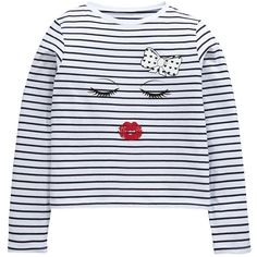 V By Very Girls Kiss Stripe T-Shirt ($12) ❤ liked on Polyvore featuring tops, t-shirts, red striped tee, print t shirts, red stripe t shirt, striped tee and cotton tees