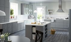 Love this ikea kitchen with the grey cabinets and farmhouse sink. 2015 SEKTION Kitchens - traditional - Kitchen - Other Metro - IKEA Grey Kitchen Cabinets, Ikea Cabinets, Kitchen Island, Bodbyn Kitchen Grey, White Cabinets, Grey Ikea Kitchen, Ikea Island, Unfitted Kitchen, Wall Cabinets
