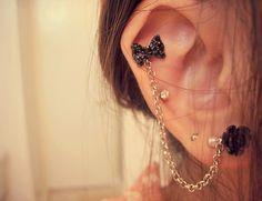 Pretty Bow Cartilage Earrings Cute Ear Piercings