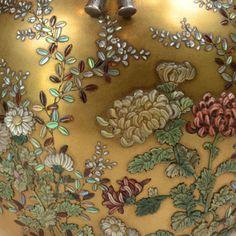 JAPAN.Meiji circa 1900.Pair of unusual lacquer and shibayama vases
