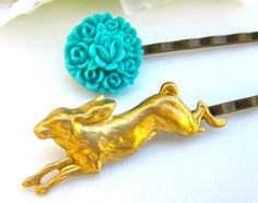 Hair Pins Accessories Bobby Pins Gold Bunny Blue by PlumePretty, $10.00