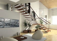 While it may not be possible to change your house all together, certain remedial feng shui measures can be taken to remove negativity from your house. Here are some useful feng shui tips for your staircase. Interior Design Software, Office Interior Design, Office Interiors, Modern Interior, Interior Ideas, Scandinavian Interior, Modern Staircase, Staircase Design, Staircase Ideas
