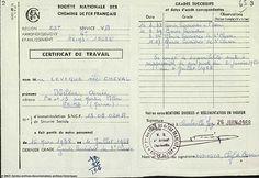 11| Certificat de travail de Mme Lévêque. Salariée SNCF du 16 mars 1938 au 4 juillet 1968. Délivré le 26 juin 1968. Mme Lévêque a réalisé toute sa carrière à la SNCF, dans la région Est. Ce certificat de travail est le dernier que reçu Mme Lévêque, retraçant ses différents grades. Elle fut retraitée en 1968, à l'âge de 55 ans. En 2014, une décision de destruction de sa maison de Reims fut prise. Âgée de 101 ans, elle put revoir son ancienne habitation avant sa destruction.
