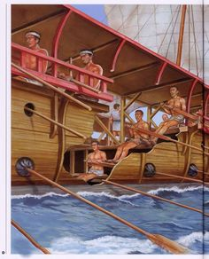 Detalle de trirreme griega, por Brian Delf: