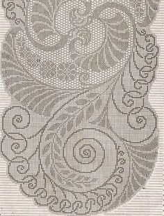 filet crochet - very nice swirly design of leaves and tendrils and other organic shapes Filet Crochet Charts, Crochet Doily Patterns, Crochet Cross, Crochet Home, Thread Crochet, Cross Stitch Charts, Crochet Motif, Crochet Designs, Crochet Doilies