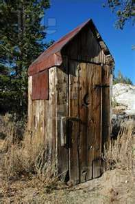 Photo about Abandoned Wooden Privy with Classic Crescent Moon Cut In Door and Rusty Tin Roof, Back Country Wilderness, Sierra Nevada Range. Image of privy, moon, aged - 2361827 Old Buildings, Abandoned Buildings, Abandoned Places, Old Farm, The Ranch, Country Life, Country Living, Farm Life, Old Houses