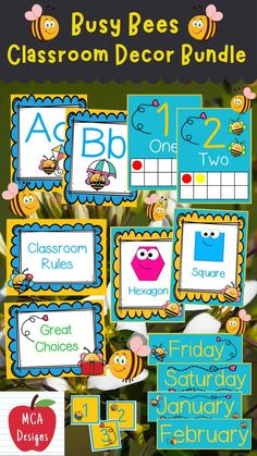 Check out my Busy Bees Classroom Décor Bundle featuring all you need to have a fresh new look for your classroom this fall! Check out the preview for a quick look at this adorable theme. #teacherspayteachers #tpt #classroommanagement #backtoschool 2nd Grade Activities, First Day Of School Activities, Kindergarten Activities, School Resources, Classroom Resources, Classroom Décor, 2nd Grade Classroom, Classroom Posters, Welcome Banner
