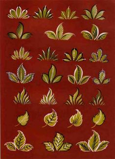 Городецкие листья Folk Art Flowers, Flower Art, Rosemaling Pattern, Arte Country, Russian Folk Art, Russian Painting, Watercolor Paintings Abstract, Indian Paintings, Art Paintings