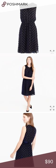 "J. Crew Velvet Polka Dot Dress Brand-new, with tags! Bought this after seeing La La Land and leaving the theater with the thought of ""I need more dresses in my life."" 🙄 J. Crew Dresses Midi"
