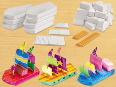 Design & Play STEAM Boats Kit - Our craft kit lets children create wind-powered sailboats—for a fun-filled introduction to early STEAM concepts! Make A Boat, Build Your Own Boat, Boat Building Plans, Boat Plans, Steam Boats, Lakeshore Learning, Boat Kits, Boat Projects, Diy Projects