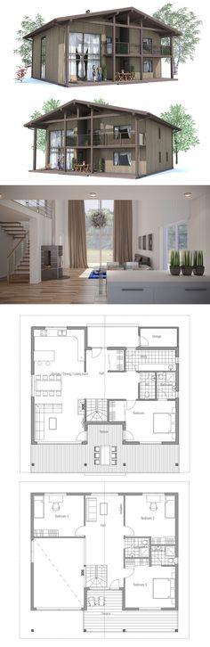 34 Ideas For House Exterior Beach Floor Plans Contemporary House Plans, Modern House Plans, House Floor Plans, Sims, House Plans One Story, Luxury Homes Dream Houses, Craftsman House Plans, House Layouts, Architecture Design