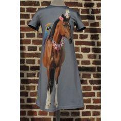 Jurk Noelle, maat 134 gemaakt van Stenzo Paneel summer horse.