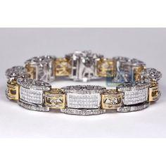 Mens Carat Mixed Round Princess Baguette Cut Diamond Link Design Bracelet Two Tone White Yellow Gold 8 Inches Gents Bracelet, Mens Diamond Bracelet, Ankle Bracelets, Link Bracelets, Bracelets For Men, Gold Man, Baguette, Unique Diamond Rings, Gold Chains For Men