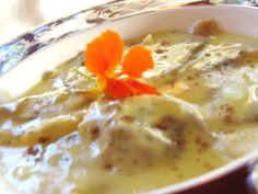 Lemon ravioli with sauce anglaise