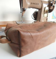 Leather 1-hour Dopp Kit, free pattern from Craftsy