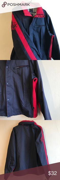 Nautica Competition Spellout Jacket Sz XL Nautica Competition Spellout Jacket Red/Blue Size XL in good condition, in the fourth picture small white marks are shown on the sleeve (possibly paint). Nautica Jackets & Coats Performance Jackets