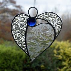 Abstract Stained Glass ornament Angel Heart by neilsglass