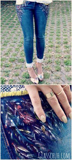 bershka jeans diy - more: http://www.glasschuh.com/
