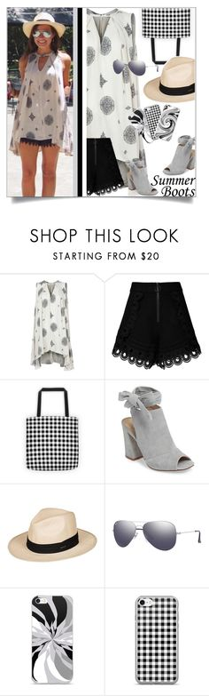 """""""Summer Essentials: Booties"""" by atelier-briella ❤ liked on Polyvore featuring Free People, self-portrait, Kristin Cavallari, Roxy, Ray-Ban, cute, chic, iPhonecases, gingham and summerbooties"""