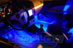 Blue 4pc LEDGlow LED Interior Lights Lighting Kit