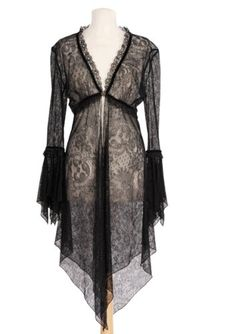 Amazon.com: Sheer Black Long Cardigan Designed by Michal Negrin with Ruffled Cuffs, Asymmetrical Hem, Lace and Velvet Trim and Merrow Edge Finish: Clothing