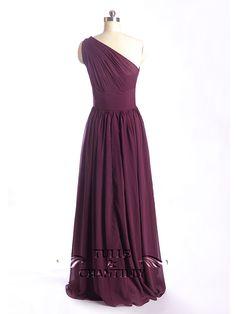 long sheer single shoulder chiffon bridesmaid dress