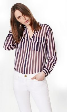 1b9c4dfee12 Equipment - MAJOR SILK SHIRT Stripe Print, Collars, Silk, Clothes For Women,